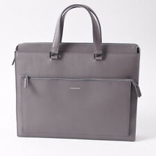 NWT  $1795 ERMENEGILDO ZEGNA Slim Gray Leather Briefcase Attache Case Bag