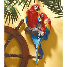 "Tropical Scarlet Macaws Design Toscano Exclusive 22"" Hand Painted Wall Sculpture"