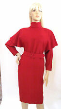VINTAGE RED WOOL SCARF NECK CAPE 3/4 SLEEVES BUTTON BACK BELTED DRESS SIZE MED