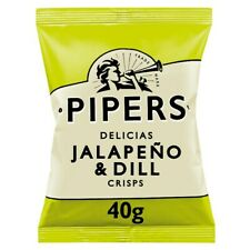 Pipers Jalapeño & Dill Crisps - Box of 24x 40g Packets - NEW/SEALED SNACKS