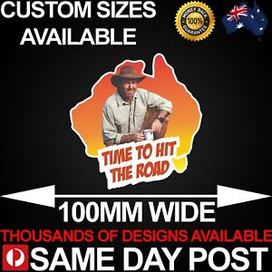 TIME TO HIT THE ROAD 5 100mm Wide Vinyl Car Sticker Decal Funny Meme Cheap