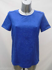 M&S Collection Sizes 10 12 Short Sleeve Embossed Top Bnwt Sapphire