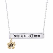 DISNEY® DISNEY'S LILO & STITCH HIBISCUS 10K GOLD PLATE YOU'RE MY OHANA NECKLACE