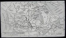 Glass Magic Lantern Slide MAP OF THE CANADIAN DOMINIONS C1900 DRAWING