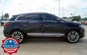 "2016-2019 Lincoln MKX Chrome Rocker Panel Body Side Molding Trim 3 3/4"" 6Pc"