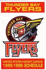 1995-96 THUNDER BAY FLYERS HOCKEY POCKET SCHEDULE
