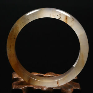 61mm Grade A Certified 100% Natural Yellow Brown Icy Jade Bangle Bracelet 62243