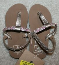 New! Youth Girls REEF Twisted Flip Flops/Sandals/Shoes (Pink/Gold) - Size 2-3