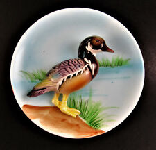 "Vintage Porcelain Wall hanging 3D Plate Duck WOOD DUCK 5"" Japan (A22)"