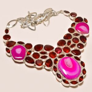 "Pink Botswana Agate & Garnet Ethnic 925 Sterling Silver Necklace 17.99"" M1472"