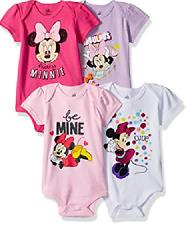 Disney Baby Girls' Minnie Mouse 4-Pack Short Sleeve Bodysuit New