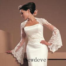 White Ivory Lace Wraps Wedding Jacket Trumpet Sleeves Bridal Bolero Shrug Custom