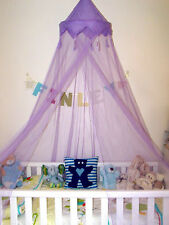 Purple Crown Tassle Single Cot Bed Mosquito Net Princess Prince Bedroom Canopy