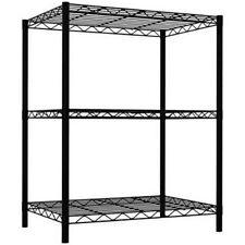Sunbeam 3 Tier Wire Shelving Storage Unit 32 Inch Black