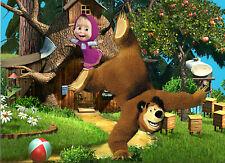 7x5ft Vinyl Cartoon Masha Bear Forest House Photo Backdrop Background Banner