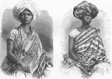 BRAZIL. African Belles in Brazil 1880 old antique vintage print picture
