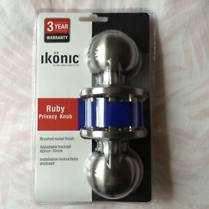 iKONIC round privacy (lockable) door knobs Brushed Nickel finish 3 YEAR WARRANTY