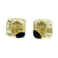 Murano Glass Earrings Gold Black Millefiori Handmade Venice Stud Square
