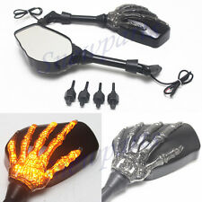 Universal Motorcycle Side Rearview Mirrors LED Skeleton Claw Turn Signal Light