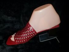 "COLE HAAN Womens Sz 6B Red Leather 2-1/2"" Heel Mule Slide Sandals"