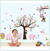 Owl Zoo Animal Wall Stickers Jungle Tree Nursery Baby Bedroom Mural Decals Decor