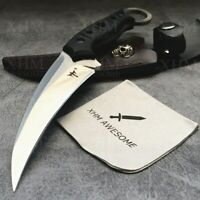 XHM Tactical Combat Knife Fixed Blade Karambit with Leather Sheath for Hunting