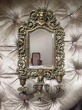 Antique 19C Victorian Bradley & Hubbard Bevel Edge Mirror Triple Candle Nouveau