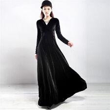 Womens Elegant V Neck Long Sleeve Velvet Party Evening Long Maxi Dress Plus Size