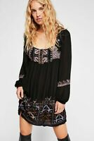 $ 148 Free People Womens Sz S Rhiannon Black Long Sleeve  Embroidered Dress