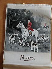 ancien menu sur soie joli décor chasse a court