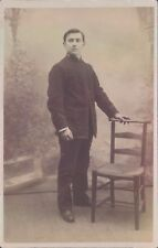 Postcard  WW1  Church Army Member Studio shot  Real Photo unposted