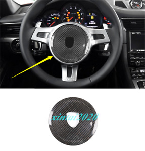 Real Carbon Fiber Steering Wheel Logo Cover Fit For Porsche 911 Cayenne panamera
