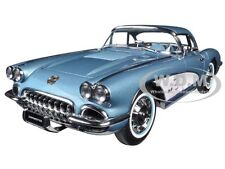 1958 CHEVROLET CORVETTE SILVER BLUE 1:18 DIECAST MODEL CAR BY AUTOART 71146