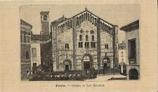 Stampa antica PAVIA Chiesa di San Michele 1891 Old antique print