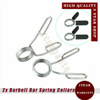 "2x Standard 1.18"" 30mm Spring Collar Weight Bar Clips Dumbbell Barbell Clamp Gym"