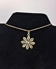 """New 14k Solid Yellow Gold Filigree Flower Floral Pendant no Chain 1"""" L- 1.7 gr."""
