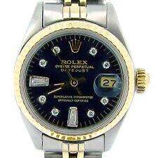 Rolex Datejust Lady 2Tone 14K Gold & Steel Watch w/ Black 8+2 Diamond Dial 6917