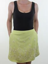 BNWT NEXT fluro lime green floral beaded embellished crepe mini skirt size 12