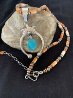 Native NAVAJO Sterling Silver Blue Turquoise Pendant Spiny Oys Necklace NAJA 262