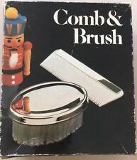VINTAGE Military Style Vintage Boys Comb & Brush Set Silver Plate Retro