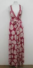 DIANE VON FURSTENBERG Ladies Magenta White Samson Silk Maxi Wrap Dress US0 UK4