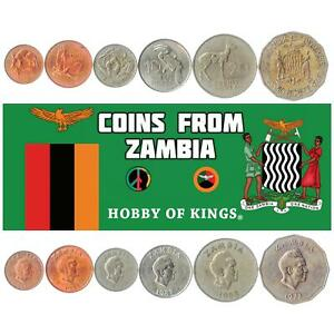 SET OF 6 COINS FROM ZAMBIA. 1, 2, 5, 10, 20, 50 NGWEE. AFRICAN MONEY 1968-1988