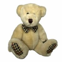 """Bearland Bear Plush with Plaid Paws and Bow Tie Teddy 11"""" Jointed Poseable"""