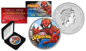 2017 1 oz Pure Silver Tuvalu SPIDERMAN BU Colorized NEW YORK Ltd. of 500 Coin