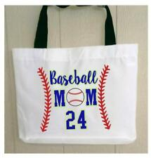 Personalized BASEBALL MOM TOTE BAG Any NAME or NUMBER Printed Great Gift