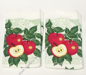 "2 PIECE Kitchen Dish Towels Microfiber Red Apples Orchard Best 15"" x 25"""