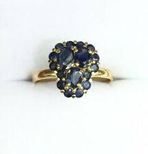 14k Solid Yellow Gold Cute Cluster Ring Natural Sapphire 1.3TCW, Sz 7.75