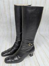 Salvatore Ferragamo Black Calfskin Leather Riding Knee High GANCINI Boots Sz 8B