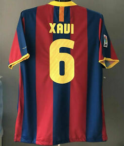 Barcelona 2010 2011 Xavi 6 FCB Home Football Retro Jersey Soccer Shirt 10/ 11