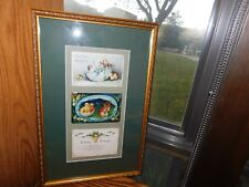 1912 Easter + 1916 Birthday Postcards Antique Professionally Framed
